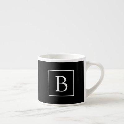 Simple Classic Monogram | Black w/ White Text Espresso Cup