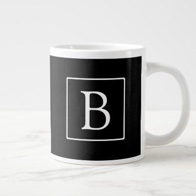 Simple Classic Monogram | Black w/ White Text Giant Coffee Mug