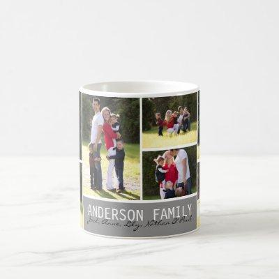 Simple Custom 7 Photo Family Collage Modern Script Coffee Mug