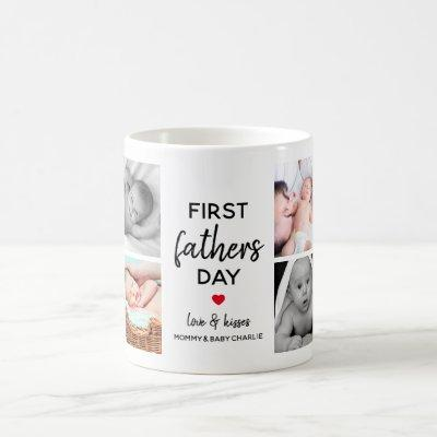 Simple First Father's Day Picture Collage | Daddy Coffee Mug