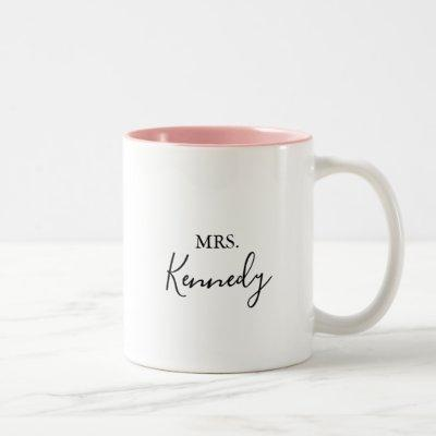 Simple Minimalist Mrs Newlywed Bride Two-Tone Coffee Mug