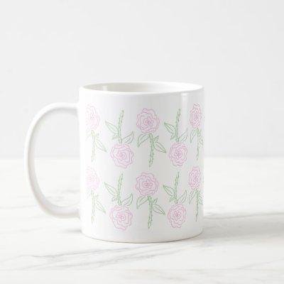 Simple Pink Rose Flowers Mug