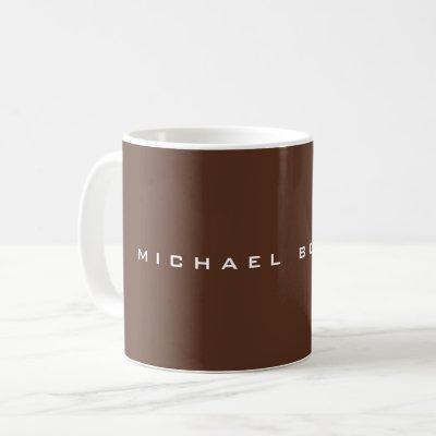 Simple Plain Brown Minimalist Modern Your Name Coffee Mug