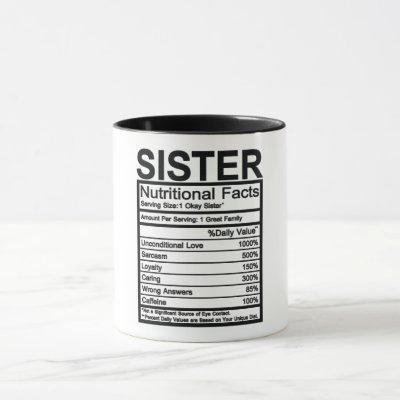 Sister Nutritional Facts Mug