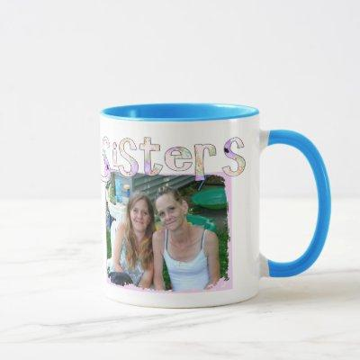 Sister's Mug with Photo and Quote in Pink Heart