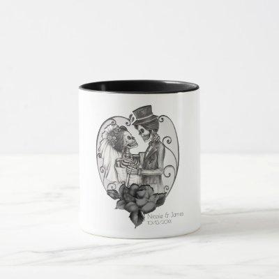Skeleton Love Couple Marriage Dance Gothic Wedding Mug
