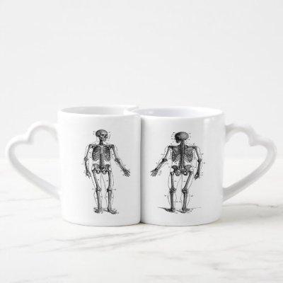 Skeletons Holding Hands, Funny Vintage Picture Coffee Mug Set