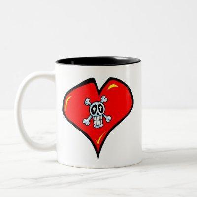 skull heart mug