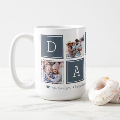 Slate | Custom Daddy 5 Photo Colorblock Collage Coffee Mug
