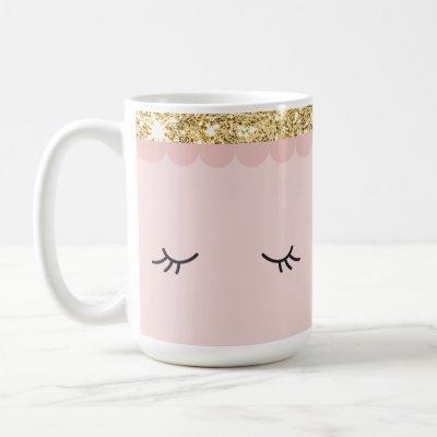 SLEEPY EYES closed open eyelashes gold pale pink Coffee Mug