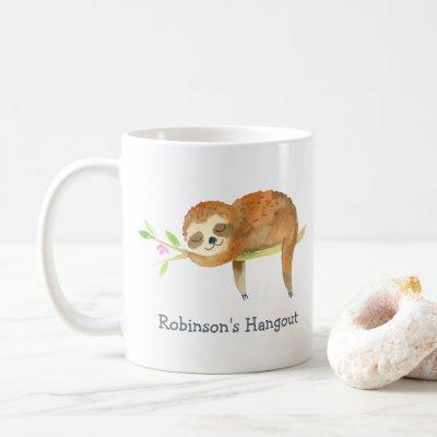 Sloth cartoon personalized coffee mug