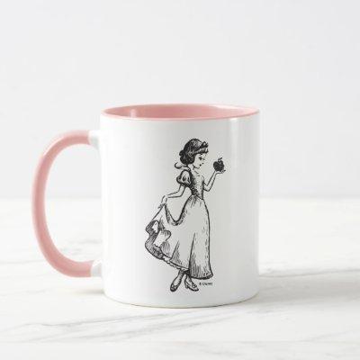 Snow White   Holding Apple - Elegant Sketch Mug