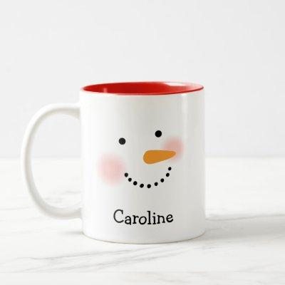 Snowman Face Monogram Holiday Mug for Her