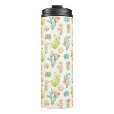 Soft Pastel Cactus & Succulent Pattern Thermal Tumbler