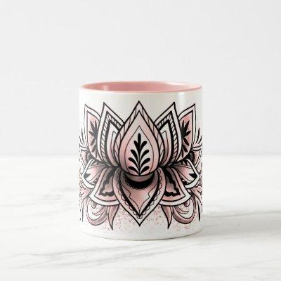 Soft Pink Lotus  Mandala Tea Hot Cocoa Chocolate Two-Tone Coffee Mug