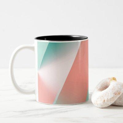 Soft Pink Peach Amber Yucca and Arbor Green Seamle Two-Tone Coffee Mug