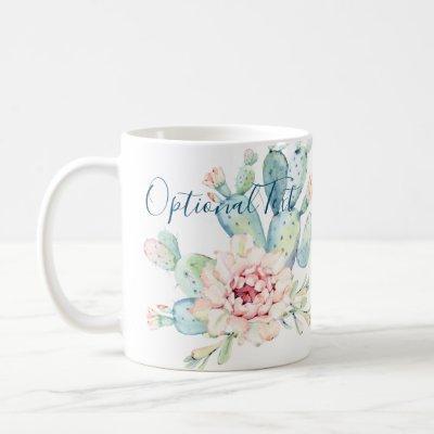 Soft Watercolor Pastel Blooming Cactus  Coffee Mug