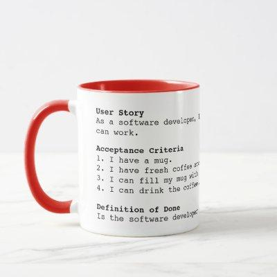 Software Developer User Story Agile Scrum Mug