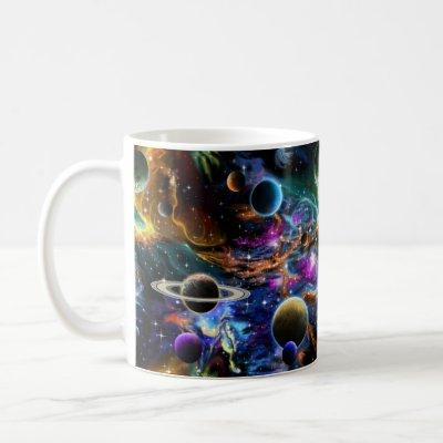 Space Nebula and Planets Coffee Mug