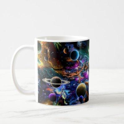 Space Nebula and Planets Coffee Mug