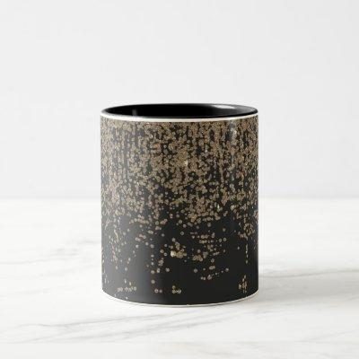 Speckled Gold Glitter Black Ombre Two-Tone Coffee Mug