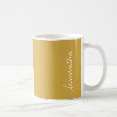 Spicy Mustard Yellow Gold Solid Color Personalize Coffee Mug