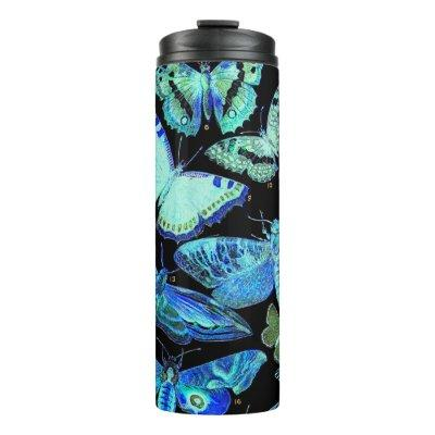 Spooky Blue Black Butterfly Moth Thermal Tumbler