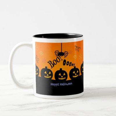 Spooky Halloween Pumpkins Jack-o-Lanterns Two-Tone Coffee Mug