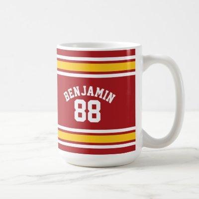 Sports Team Football Jersey Custom Name Number Coffee Mug