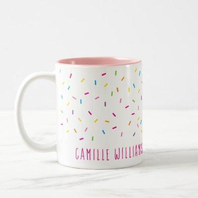 SPRINKLES modern cute patterned colorful fun party Two-Tone Coffee Mug