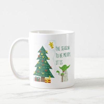 Star Wars Yoda Placing Star on Christmas Tree Coffee Mug