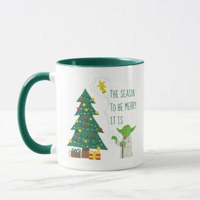 Star Wars Yoda Placing Star on Christmas Tree Mug
