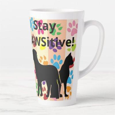 Stay Pawsitive Silhouette of Dog and Cat Latte Mug