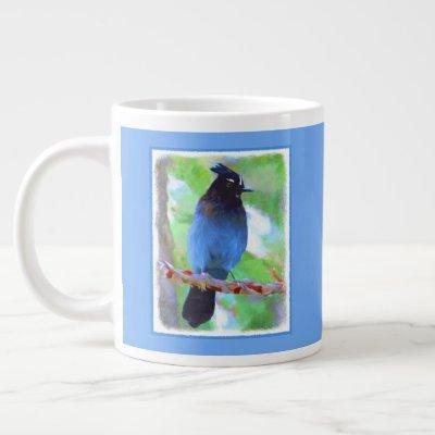 Steller's Jay Painting - Original Bird Art Giant Coffee Mug
