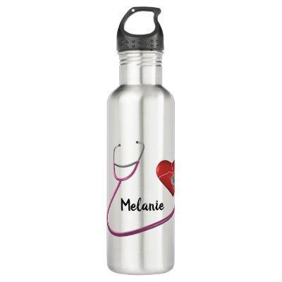 Stethoscope Heart Name Text Nurse Caregiver Custom Stainless Steel Water Bottle