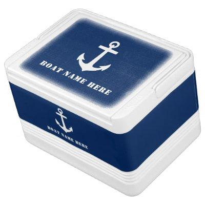 Stylish Boat Anchor on Navy Blue & Your Boat Name Cooler