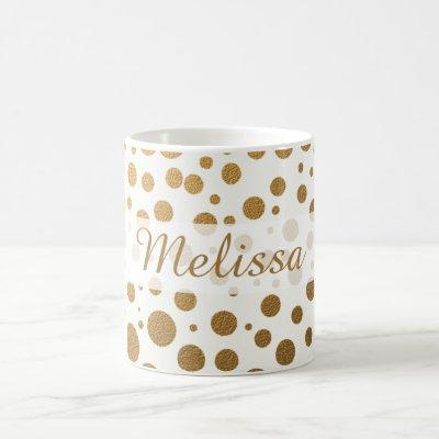 Stylish Gold Glitter Confetti Dots Custom Name Coffee Mug