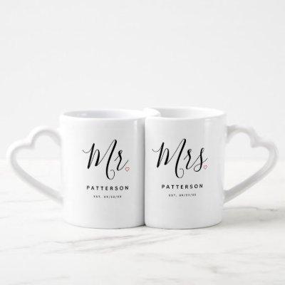 Stylish Mr. & Mrs. Custom Last Name Coffee Mug Set