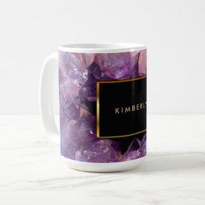 Stylish purple amethyst gemstone geode monogrammed coffee mug
