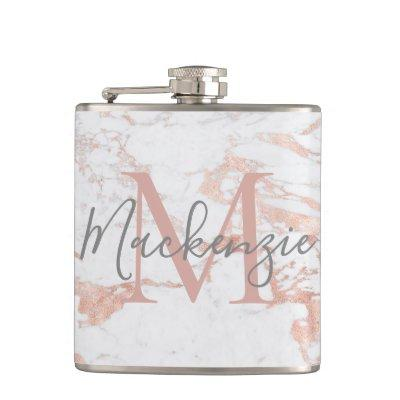 Stylish Rose Gold Foil Marble Monogram Flask
