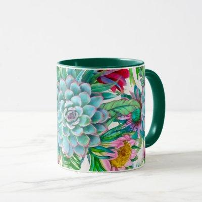 Succulents tropical garden mug
