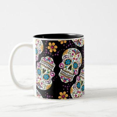 Sugar Skull Halloween Black Two-Tone Coffee Mug