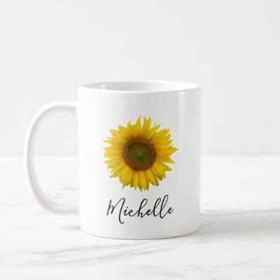 Sunflower Floral Personalized Elegant Script Coffee Mug
