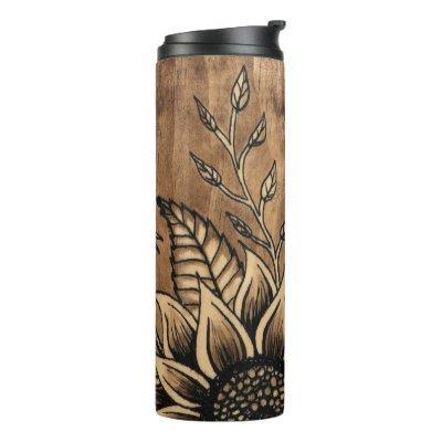 Sunflower Stained Wood Grain Tumbler