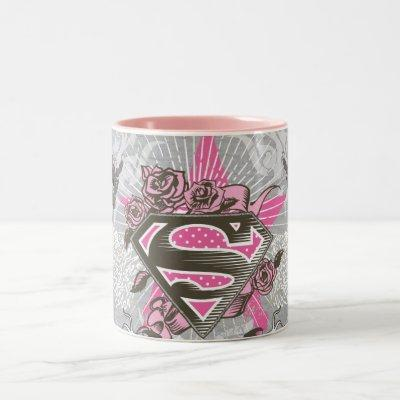 Supergirl Star and Roses Two-Tone Coffee Mug