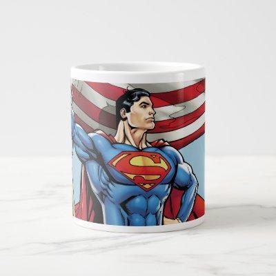 Superman Holding US Flag Large Coffee Mug