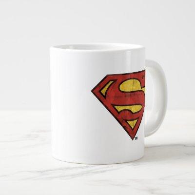 Superman S-Shield | Grunge Black Outline Logo Giant Coffee Mug