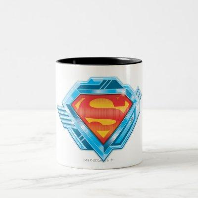 Superman S-Shield | Red and Blue Metal Logo Two-Tone Coffee Mug