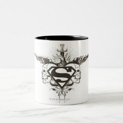 Superman Stylized | Skulls Logo Two-Tone Coffee Mug