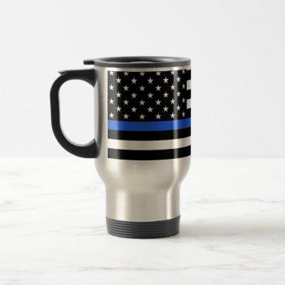 Support the Police Thin Blue Line American Flag Travel Mug